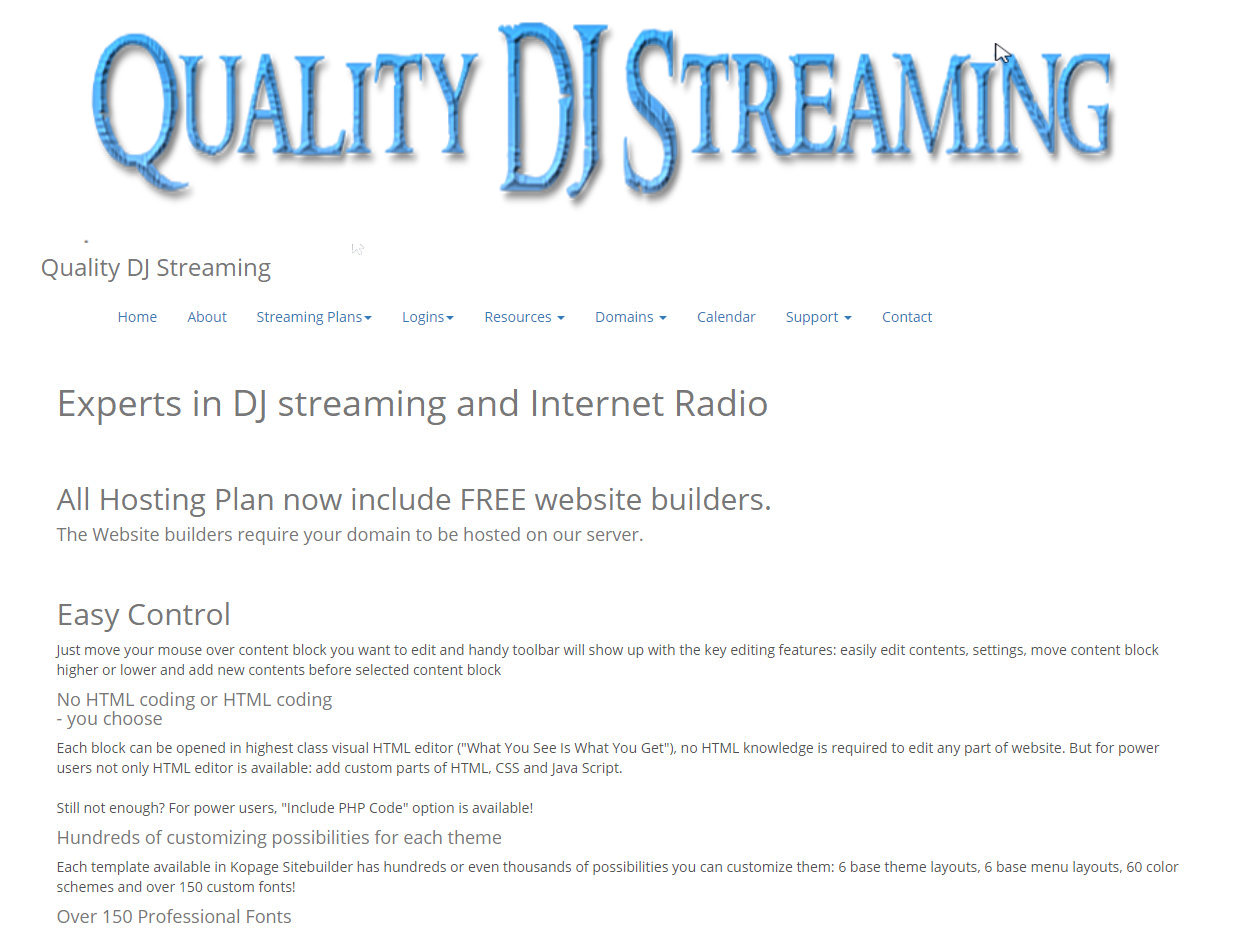 Quality DJ Streaming Personal Webpage Services